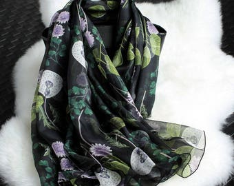 Multi Color Silk Chiffon Scarf with Floral Print - Black Floral Silk Scarf - Floral Printed Silk Scarf - AS2018E