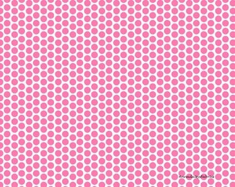 Pink Dots Fabric, Riley Blake C800-70 Honeycomb Dot Reversed, Hot Pink and White Dot Fabric, Pink Cotton Quilt Fabric, Pink Polka Dots, FQ