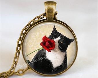 TUXEDO CAT Necklace, Rose, Peeking Cat, Kitten, Cat Jewelry, Cat Pendant, Cat Charm, Tuxedo Cat Jewelry, Glass Photo Art Pendant Necklace