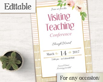 Visiting Teaching Conference Invitation, Editable PDF, LDS Relief Society Digital Printable, Relief Society Invitation