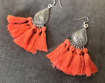 David coral ethnic earrings