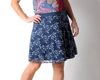 Blaue Spitzenrock, blau und Silber kurze Rock, Jersey und Spitze, Damen Röcke, MALAM, kurzer ausgestellter Rock, Kleidung der Frauen