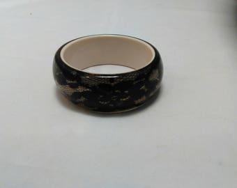 Vintage Collection - Black Lace Plastic Bangle Bracelet
