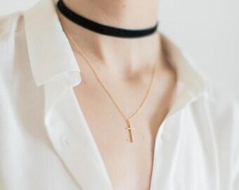 Black velvet choker double necklace with cross