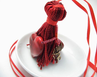 Cupid and Hearts Valentine's Beaded Tassel Wristlet Bracelet
