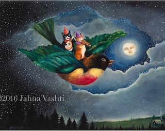 Big Print / 18x24 / Giclée / Nursery Art / cat art / bird art / full moon / whimsical art / home decor / print / art / fine art / robin