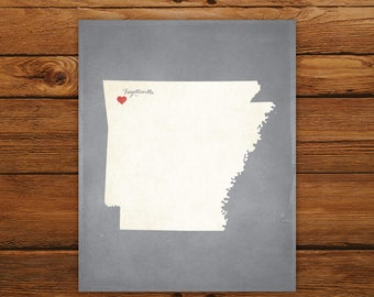 Customized Printable Arkansas State Map - DIGITAL FILE, Aged-Look Personalized Wall Art