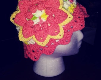 Crochet Cotton Sun Hat/Beanie for Girls