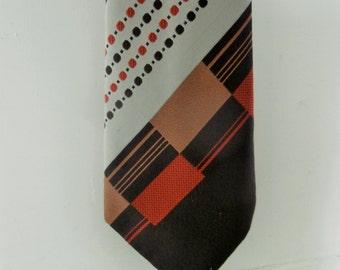 Vintage, 1960's, Extra Wide, Necktie, Brown/Grey/Orange, Mid Centruy Modern Print