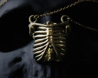 Human Rib Cage Charm Necklace by Defy - Brass Pendant Necklace - Statement Jewelry