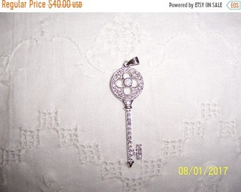 SUMMER SALE 20% OFF, Vintage Clear Cubic zirconias key pendant. Sterling silver.