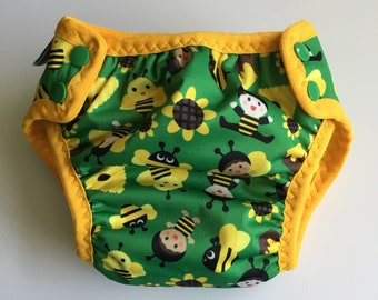 Cloth pull-up, potty learning pants, training pants, reusable pull-ups, one size fits most - approx. 15 months to 5 years, bees