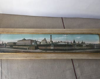 French vintage panoramic view of Moscow, framed and glassed