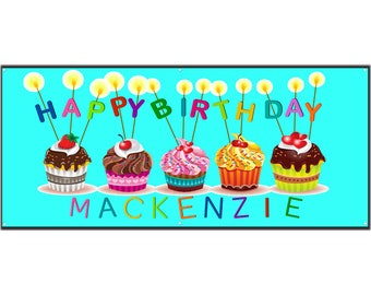 Birthday Cupcake Vinyl Banner Single Sided with Grommets