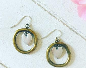 Rosie Hoop Mixed Metal Earrings / Mixed Metal Earrings / Mixed Metal Jewellery / Hoop Earrings / Gift for Her / Heart Earrings / BohoEarring