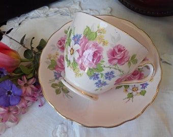 Pink China, Pink Roses Teacup and Saucer, Vintage, Corset, Gold Trim, Mixed Floral, Gift for Her