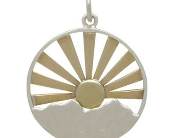Sterling Silver Mountain Range Pendant with bronze sun rays- Travel Jewelry - Mixed Metals  Mountains - DIY Jewelry - Add to your necklace -