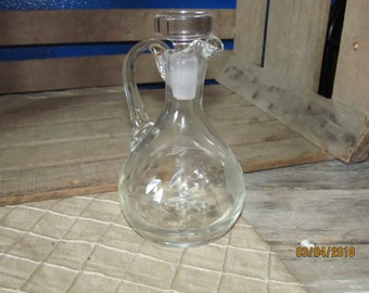 Vintage Clear Cut Glass Oil Vinegar Cruet with Stopper - Etched Cut Glass Flower Star Design