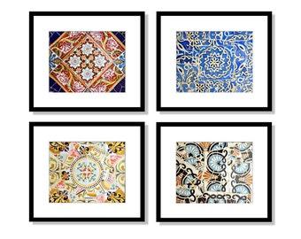 SALE, Spanish Tiles, Print Set, Colorful Patterns, Girls Room Decor, Bathroom Decor, Wall Art, Barcelona, Spain, Gaudi, Set of 4 prints