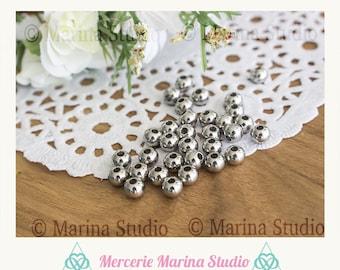 10 pearls steel stainless 6mm