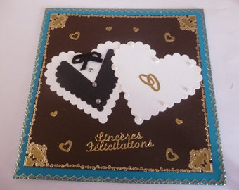 """2018110 """"2 entwined hearts"""" wedding card"""