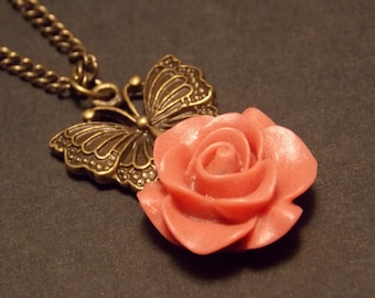 Butterfly Rose Necklace- Choose Your Color