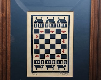 ORIGINAL Signed Susan A. Winget fabric designer art of hearts and home checkerboard painting
