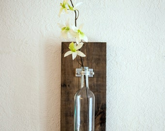 Wine Bottle Wall Vase / Sold Individually - Rustic Modern - Industrial Chic - Wall decorations - Wine Bottle Hanger - Alcohol Wedding Gift