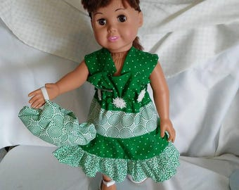 Green and White Ruffled Dress and Purse