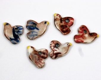 3 pairs of small bird charms, tiny, white, blue red purple, boho, hippy, rustic, enameled, ceramic components for jewelry, art bead, pottery