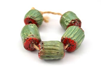 5 Raku Tube Beads, Green / Red Beads, Rustic Beads, Ceramic Art Beads, Handmade Clay Beads, Jewelry Supplies