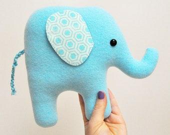 Curious Light Blue Plush Elephant - Geometric Ears - READY TO SHIP