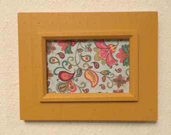 Clearance***Picture Frame Upcycled Handpainted Yellow , 4x6 Photo Frame , Farmhouse Decor , Kitchen Decor , Distressed Frame