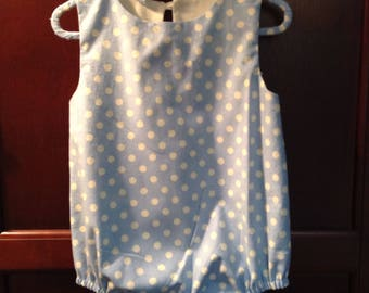 "CLASSIC MEETS MODERN with our girl's Romper/Bubble Moda ""Dottie Baby Blue"" fabric.  Size 12 months."