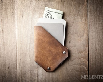 Thin Leather Card Wallet, Thin Card Wallet, Minimal Card Wallet, Leather Money Clip  006