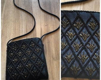 80s 90s vintage Black Gold sequin crossbody purse Evening bag  clutch hand bag Ladies  micro beads