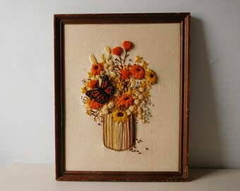 Vintage 1970s needlework picture Yarn needle work picture