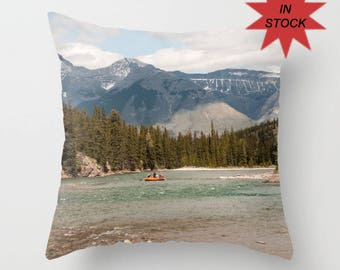 Banff Alberta Pillow Cover, Bow River Cushion Case, Rustic Mountain Lodge Decor, 16x16 Accent For A Cabin, Lake House Art, Turquoise, Blue