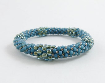 Montana Blue Bead Crochet Bangle - the Pentastic - Item 1454