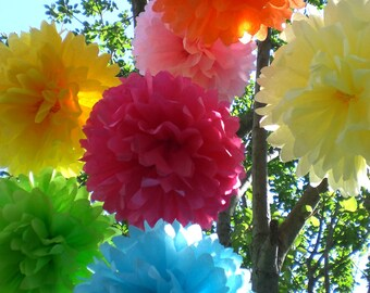 Birthday Party Decorations -7 Hanging Tissue Paper Pom Poms ,Party Decor, Event Decoration, Birthday Decor- Pick your Colors