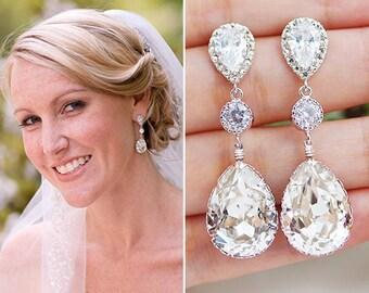 Weddings Jewelry Earrings Bridal Earrings Bridesmaid Earrings Dangle Earrings Swarovski Crystal Cubic Zirconia Tear Drop Earrings (E-B-0008)