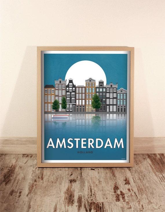 Amsterdam. Holland. Wall decor art. Poster. Illustration. Digital print. Cities. Travel. 15,75x19,69 inch