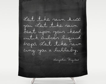 Quote Shower Curtain, Rustic Shower Curtain, Langston Hughes Quote, Cottage Chic, Farmhouse Decor, Black Shower Curtain, Housewarming Gifts