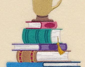 Cup for a Book Lover Embroidered Flour Sack Hand/Dish Towel