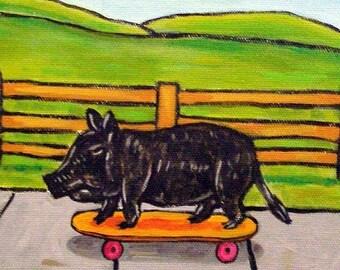 25% off Pot Belly Pig on a Skateboard Animal Art Tile Coaster