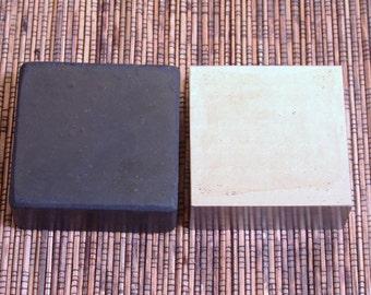 Steel bench block, hard rubber block,  combo set, stamping block, 2.5x2.5x3/4 inch