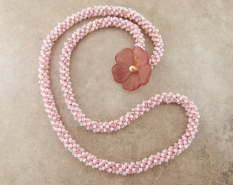 Pink Bead Crochet Necklace with Pretty Flower Clasp or 4x Wrap Bracelet - Item 1538