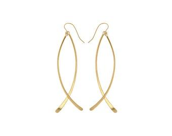 Long Drop Earrings, Elegant Earrings, Long Dangle Earring, Bridesmaid Gold Earring, Woman's Dangle Earrings, Delicate Drops, Bridal Earrings