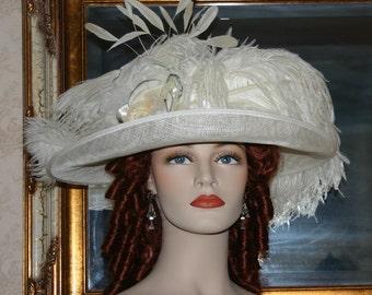 Edwardian Hat, Downton Abbey Hat, Kentucky Derby Hat, Ascot Hat, Tea Party Hat, Wedding Hat, Titanic Hat - Countess of Grantham