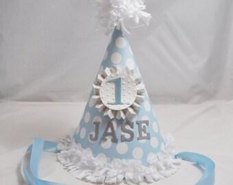 Boy Shabby Chic 1st Birthday Party Hat, Personalized Party Hat, Blue and Grey, Boy Birthday Hat, Photo Prop, Shabby Chic Hat, Cake Smash